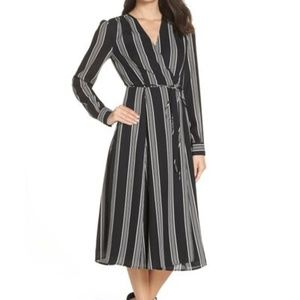 Charles Henry Womens Black & White Striped Dress